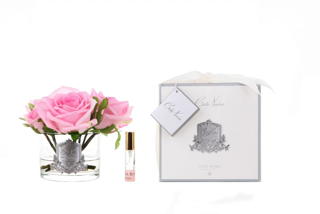 Five Roses in White Glass with Giftbox French Pink