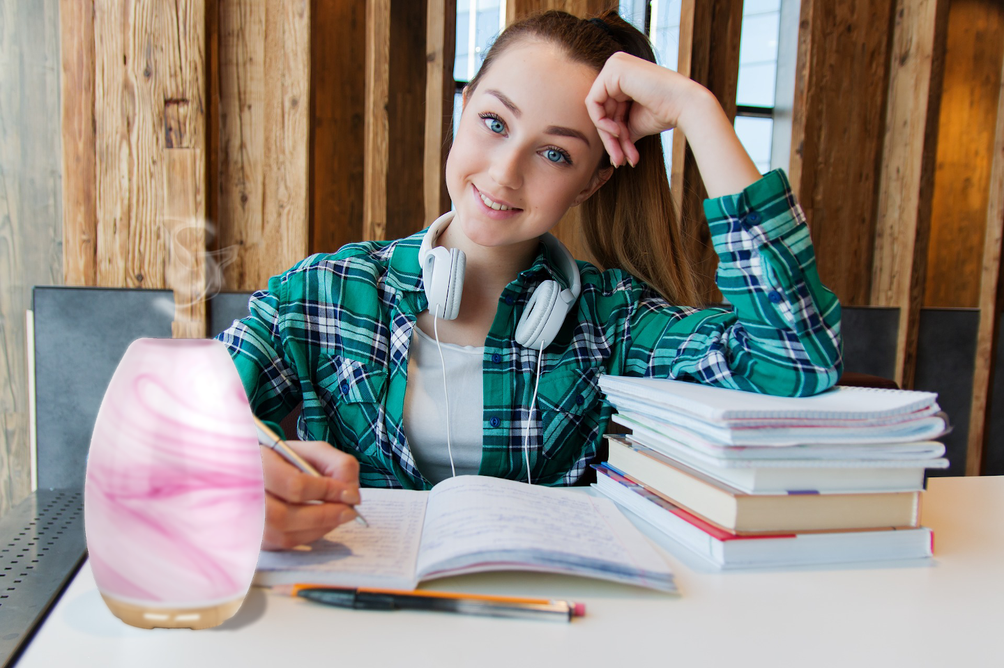 Smiling Girl Studying With Aroma Swirl Pink