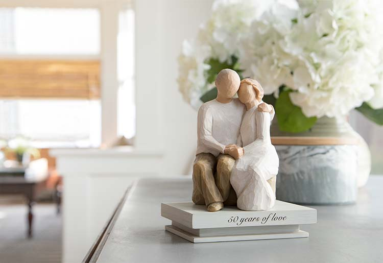 Willow Tree Anniversary Figurine On 50th Years of Love Stand