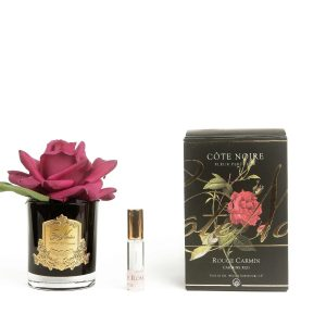 Cote Noire Perfumed Natural Touch Single Rose In Black Glass Valse with Gold Crest