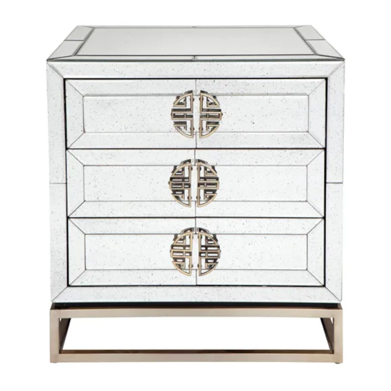 Rochester Bedside Table With Mirror Front View