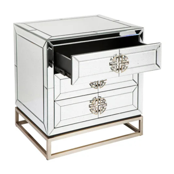 Rochester Bedside Table With Mirror Drawer Open