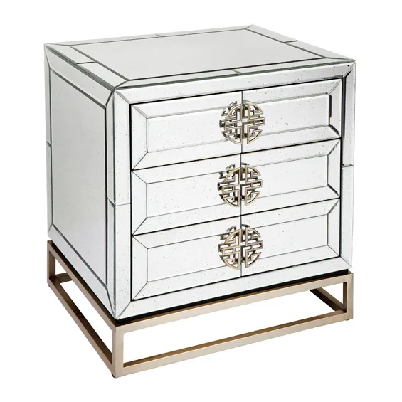 Rochester Bedside Table With Mirror Side View