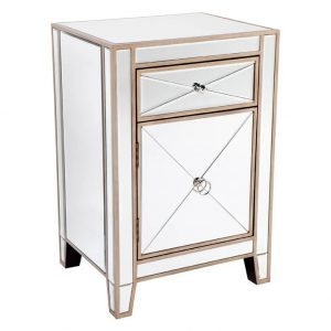 Apolo Mirrored Bedside Table Antique Gold Side View