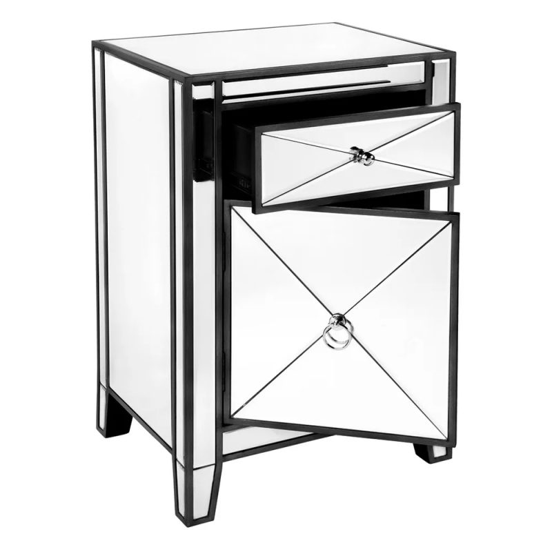 Apolo Mirrored Bedside Table Black Open Drawer And Door