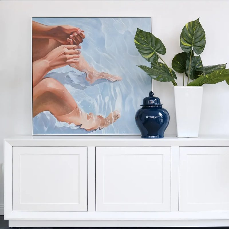 Beach Life Calm Water Oil Painting On Canvas On Display