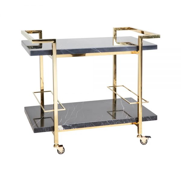 Franklin Black Marble Drinks Trolley Gold Frame Angle View