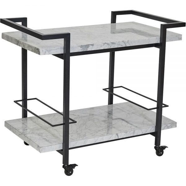 Franklin White Marble Drinks Trolley Black Frame Angle View