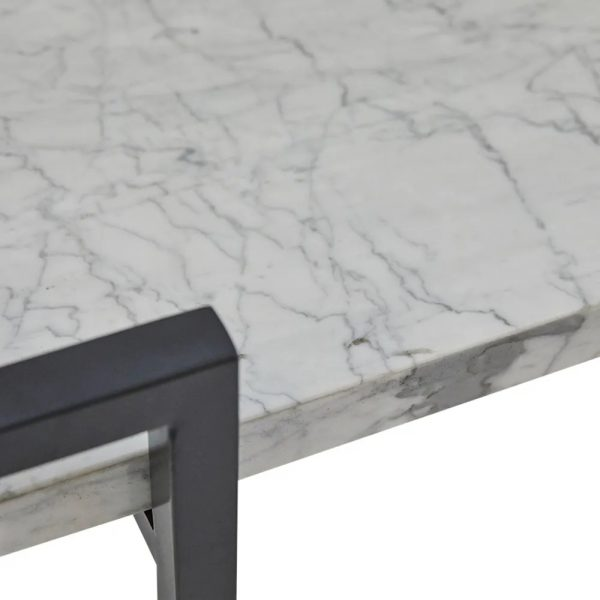Franklin White Marble Drinks Trolley Black Frame Close Up