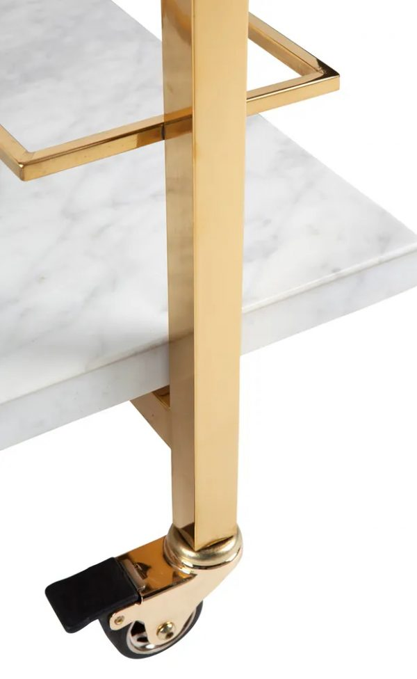 Franklin White Marble Drinks Trolley Gold Close Up View
