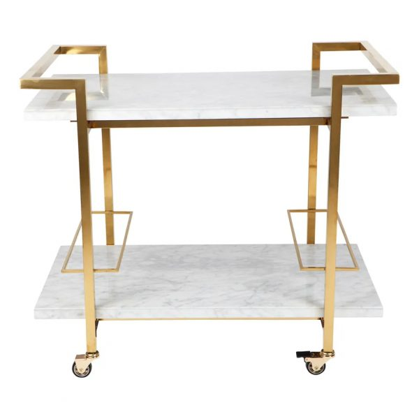 Franklin White Marble Drinks Trolley Gold Frame