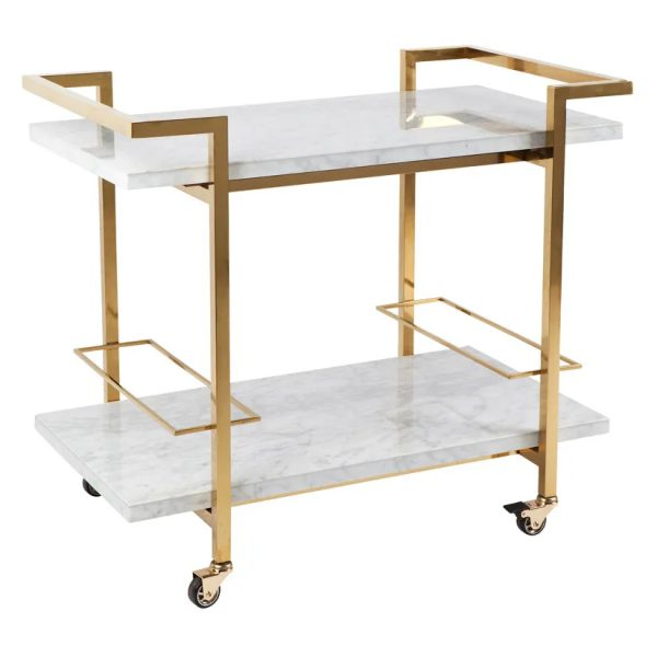Franklin White Marble Drinks Trolley Gold Frame Angle View