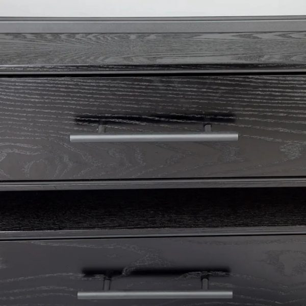 Vogue 3 Chest of Drawers Black Front View