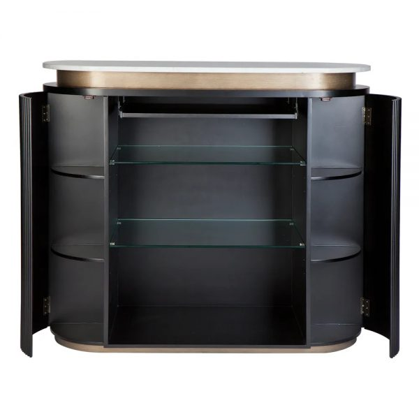 Calile Bar Counter For Home Black Back Open Doors