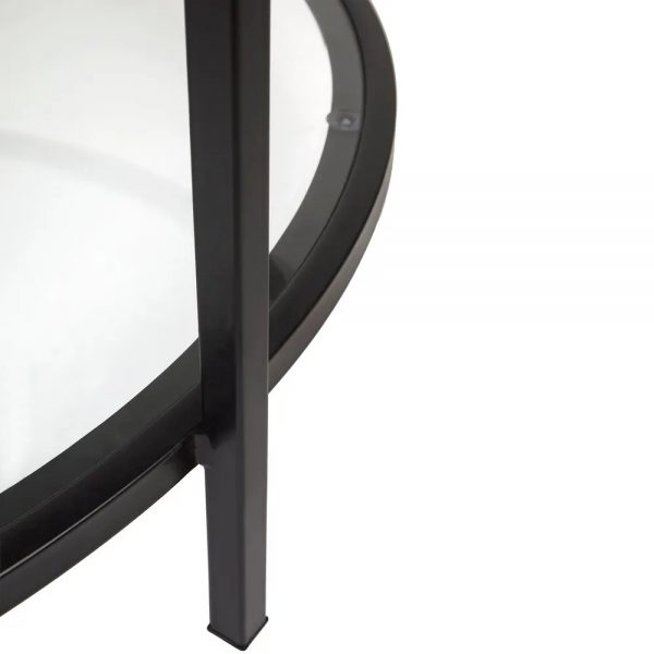 Cocktail Glass Round Coffee Table Black Close Up