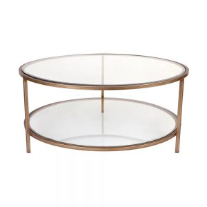 Cocktail Glass Round Coffee Table Gold