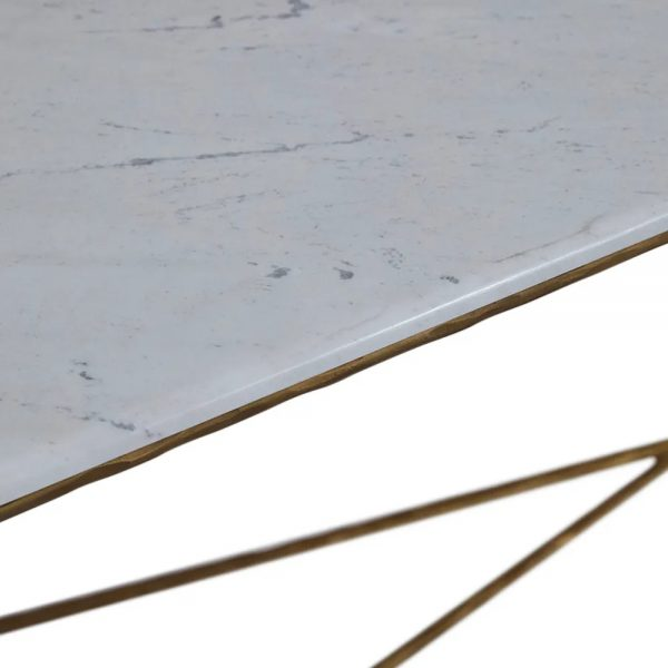 Heston Marble Console Table Large Brass Close Up