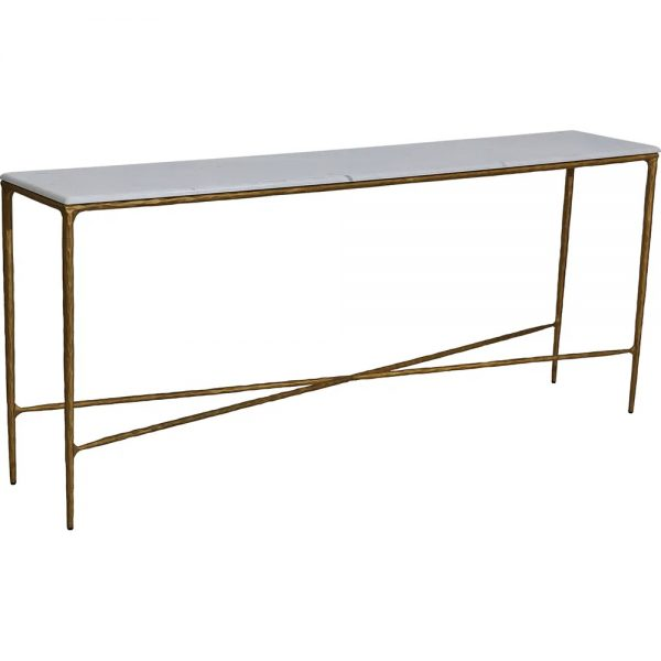 Heston Marble Console Table Large Brass Side View