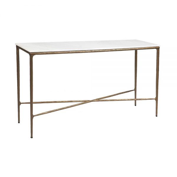 Heston Marble Console Table Medium Brass Side View