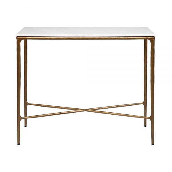 Heston Marble Console Table Small Brass