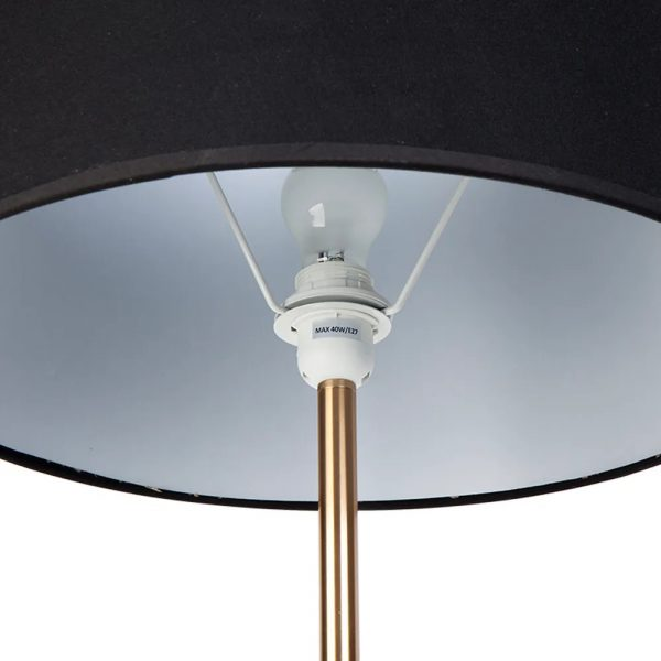 Sully Floor Lamp With Side Table Black Close Up Shade