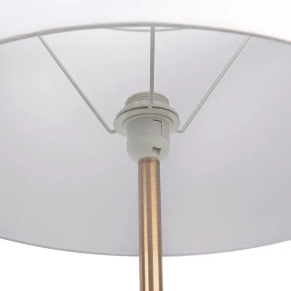 Sully Floor Lamp With Side Table White Close Up Shade