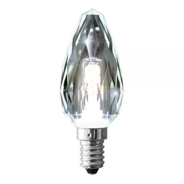 globe led candle crystal 4w 6500k clear e14 dimmable
