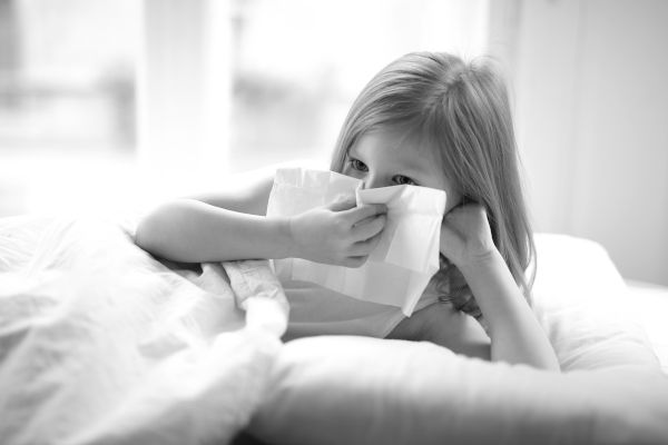 Girl Sick Blow Nose With Tissue