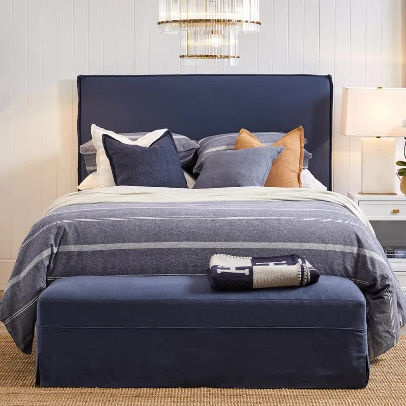 Brighton Slip Cover Queen Bedhead With Valance Navy Linen In Use
