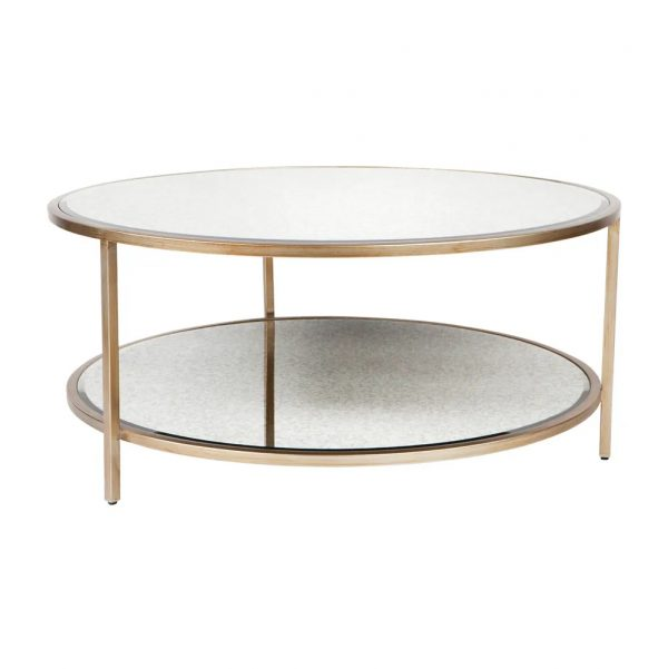 Cocktail Glass Round Coffee Table Antique Gold